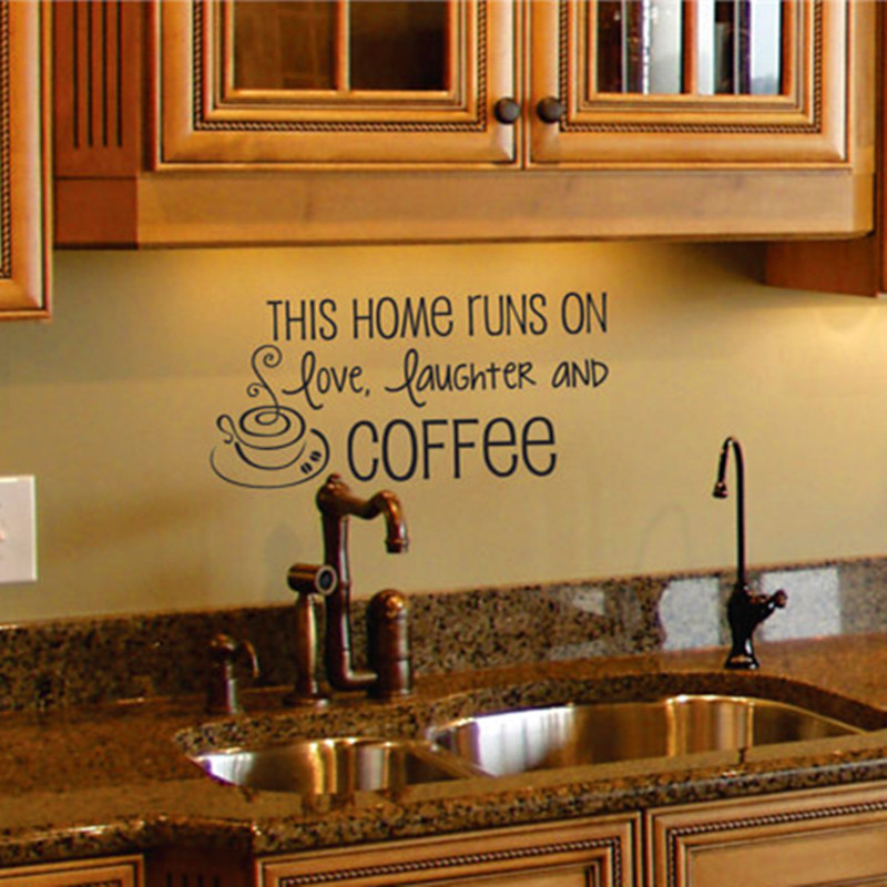 coffee wall decal kitchen wall art quote removable vinyl lettering wall sticker home decor kitchen and living room decorative