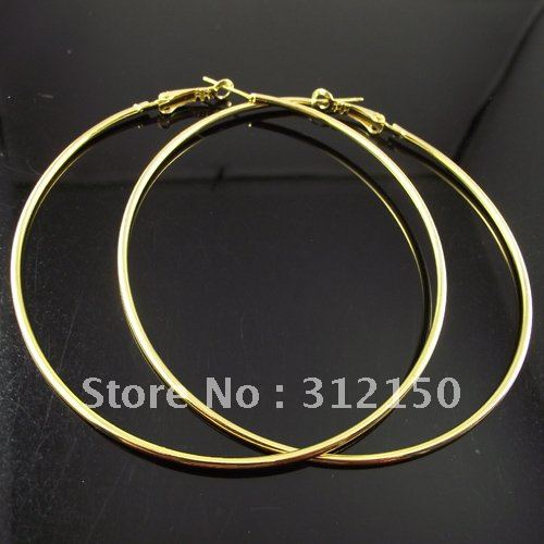 12pairs Free Shipping Gold Color Hoop Earring Fashion Earrings 80mm Por In From Jewelry Accessories On Aliexpress