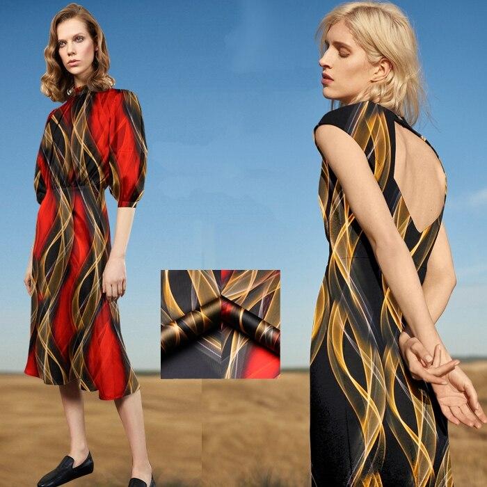 118CM Wide 19MM 93% Silk & 7% Spandex Print Stretch Black Red Silk Satin Fabric for Dress Cheongsam D1000