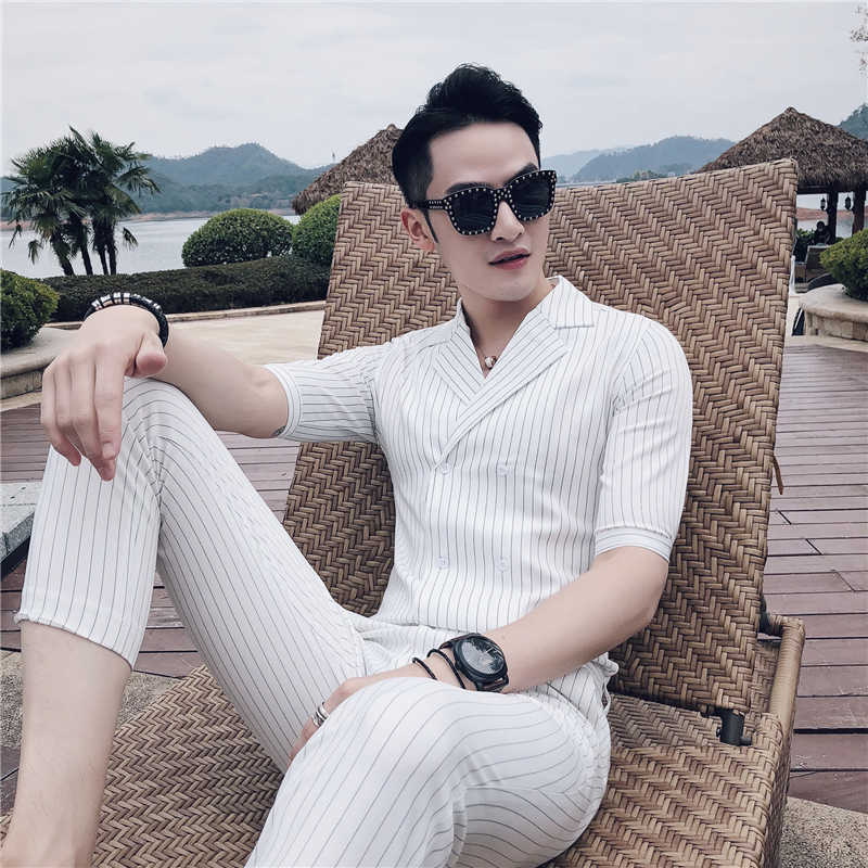 ダブルブレストスーツ夏衣装マリアージュオムブラックホワイトグレーブルーストライプスーツセット喫煙ウォモ Trajes デ Hombre