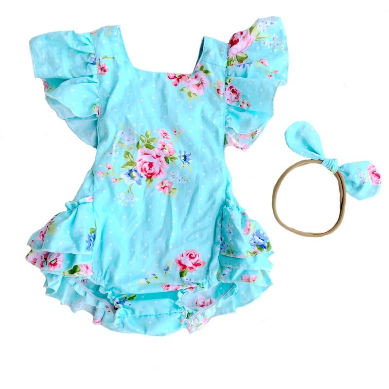 Newborn Baby Boutique Vintage Floral Romper Jumpsuit Girl