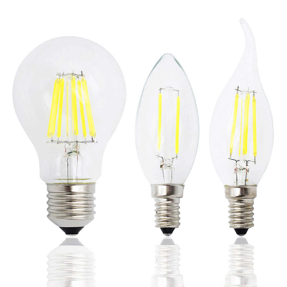 Retro 2W 4W 6W 8W Dimmable Led Filament Light Bulb E27 E14 Candle Lamp COB 220V 230V replace 20w 40w 60w 80w halogen bulbs