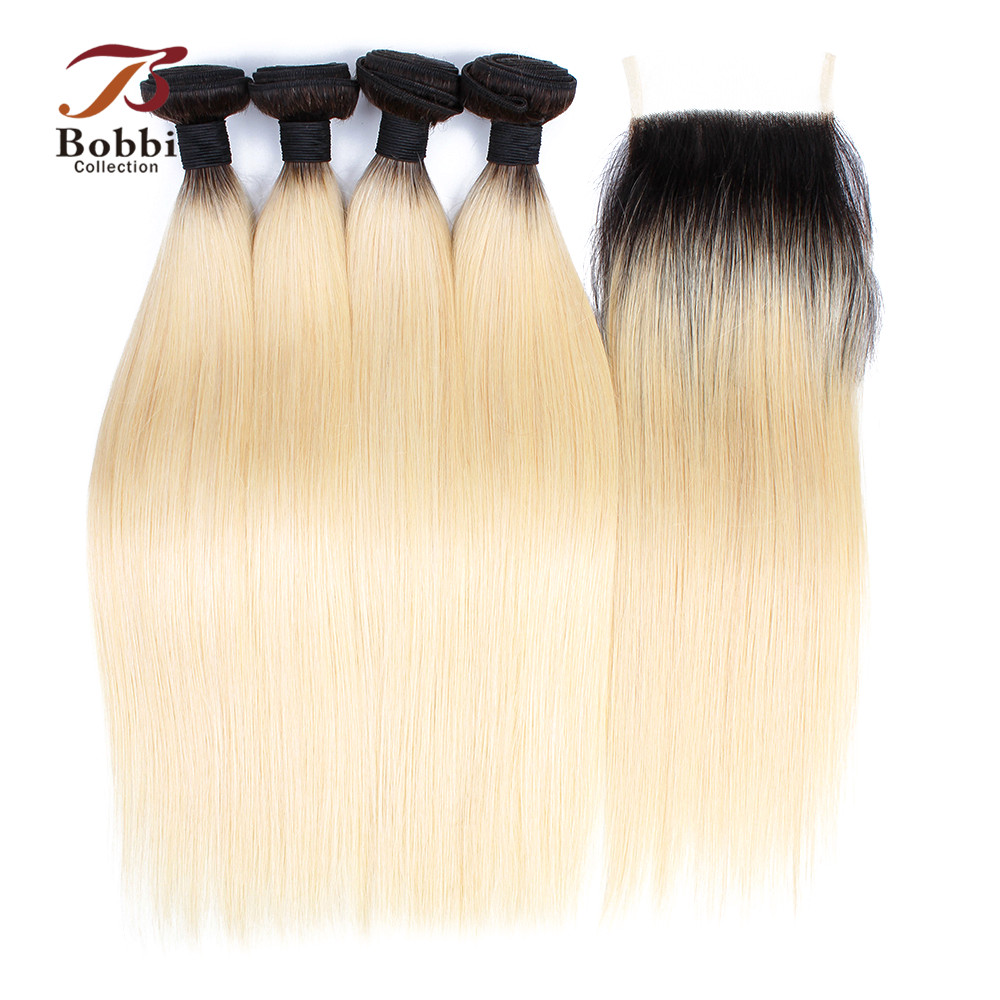 BOBBI COLLECTION Ombre T 1B 613 Dark Root Platinum Blonde 3 4 Bundles With Closure Brazilian