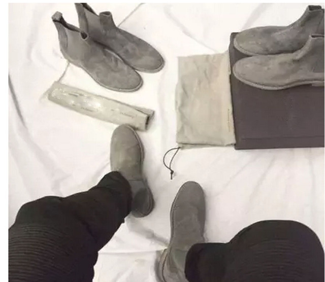 Handmade All-matching Luxury brand Men Chelsea Boots Leather Yeezus Shoes  Men's Party and Wedding Dress Shoes  Kanye West shoes