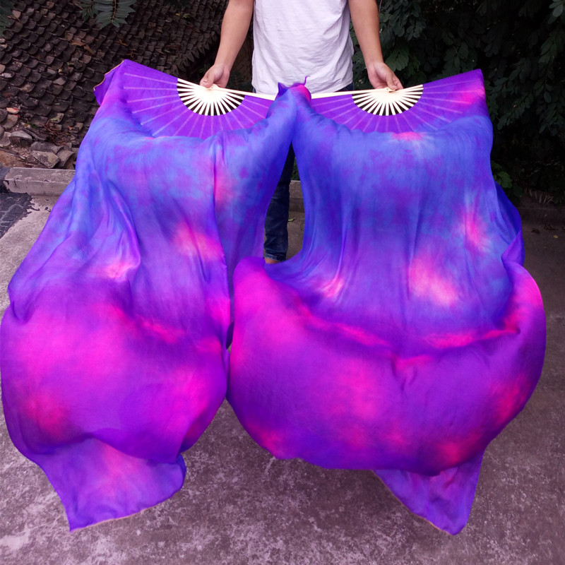 1pair Belly Dancing Tie-dyed 100% Real Natural Silk Fans Veils Long Silk Stage Performance Fans For Women ( L+R ) Hand 4 Sizes