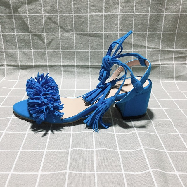 Kmeioo Ankle Strap Gladiator Sandals Tassel Straps Summer Tassel Shoes Ladies Wedding Flock Women Sandals Fringe Sandal Heels