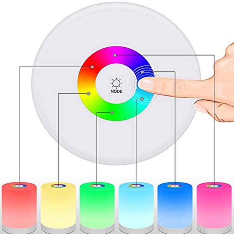 Image 4 - Kolorowe ściemniane światło nocne sterowanie dotykowe zasilanie USB zasilane oświetlenie wielofunkcyjna lampa do sypialni LED światła zewnętrzneOświetlenie nocne   -