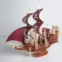 Wooden boat model puzzle wooden boat handmade assembly sailing model decoration ornament adult assembled pirate ship