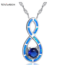ROLILASON magical charm for Women Blue fire opal  blue zircon 925 silver Necklace Pendant Fashion Jewelry OP787 qyi 18k necklace yellow gold jewelry opal natual bubble blue opal pendant for women engagement wedding charm jewelry