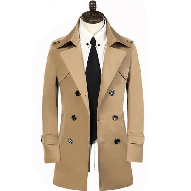 f64d2ffadaa Beige khaki 2019 spring trench coat men autumn fashion casual slim medium-long  mens trench coat overcoat plus size 8XL 9XL