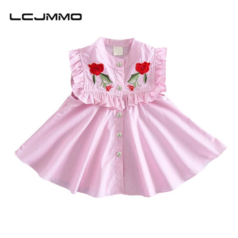 LCJMMO Baby Klänningar 2018 Sommar Spädbarn Rosor Blomster Baby Girl Dress Princess Party Ruffled Ärmlös Tjej Klänningar Kläder 1-3Y