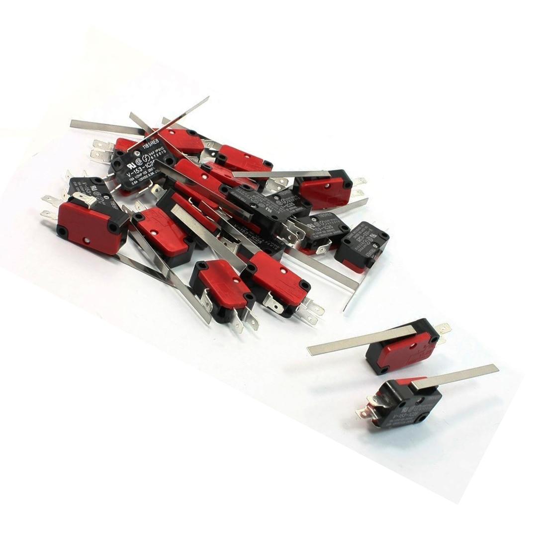 CNIM Chaude 20 PCS SPDT 3 Broches Longue Ligne Droite Charnière Levier Momentané V-153-1C25 Micro Interrupteur Rouge + Noir