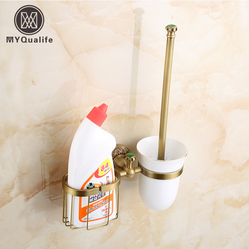 Free Shipping Antique Brass Wall Mounted Artistic Carved Toilet Cup & Brush Holder free postage gold plate toilet brush holder with ceramic cup wall mounted flower carved