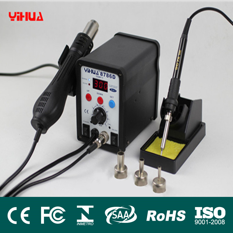 YIHUA 8786D 2 in 1 SMD Rework Soldering Station Hot Air Gun Solder Iron For Welding Repair 110V / 220V