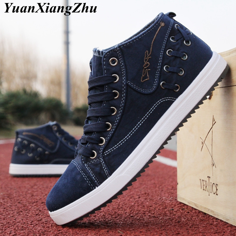 Fashion Denim Men Canvas Shoes High Help Casual Men Shoes 2018 Summer Breathable Plimsolls Male Footwear Lace-up Man Flat Shoes z suo men s shoes pure color denim casual shoes men s wear in spring and summer of canvas shoes with flat sole zs16106