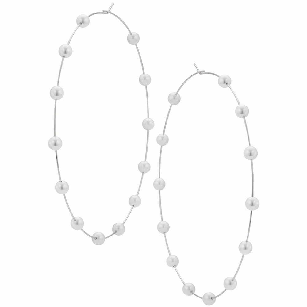 Desain Baru Fashion Wanita Mutiara Imitasi Beaded Charm Besar Anting Anting-Anting Pernyataan Perhiasan Hadiah 2019 Pesta Pernikahan Anting-Anting untuk Wanita