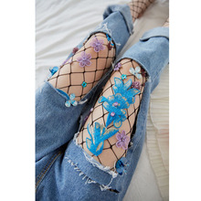 Sexy Rhinestone Mesh Fishnet Pantyhose fashion women Embroidery Tights Stockings tights rajstopy clothing Accessories