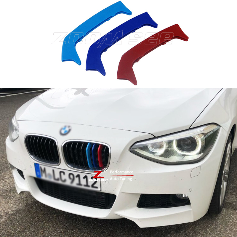 For 2012-2014 BMW 1 series F20 F21  8 Grills  Car Accessories Front Grille M Sport Stripes Grill Cover Cap Decoration Sticker