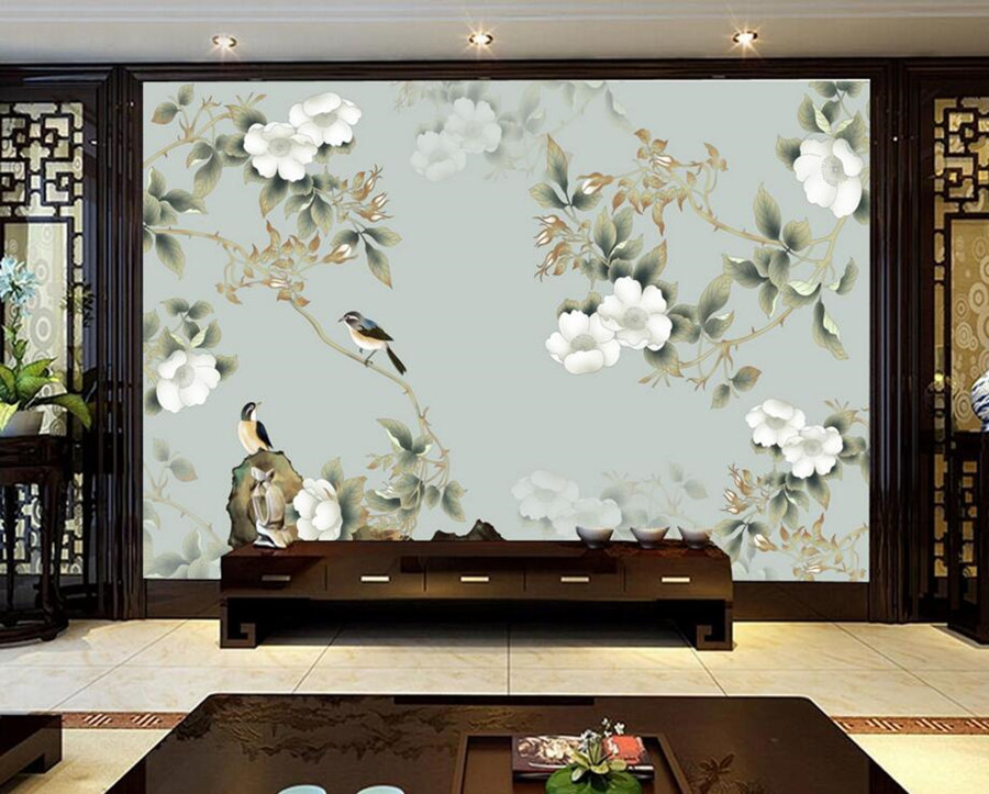 Custom 3d wallpaper mural chinese style flower and bird for Chinese mural wallpaper