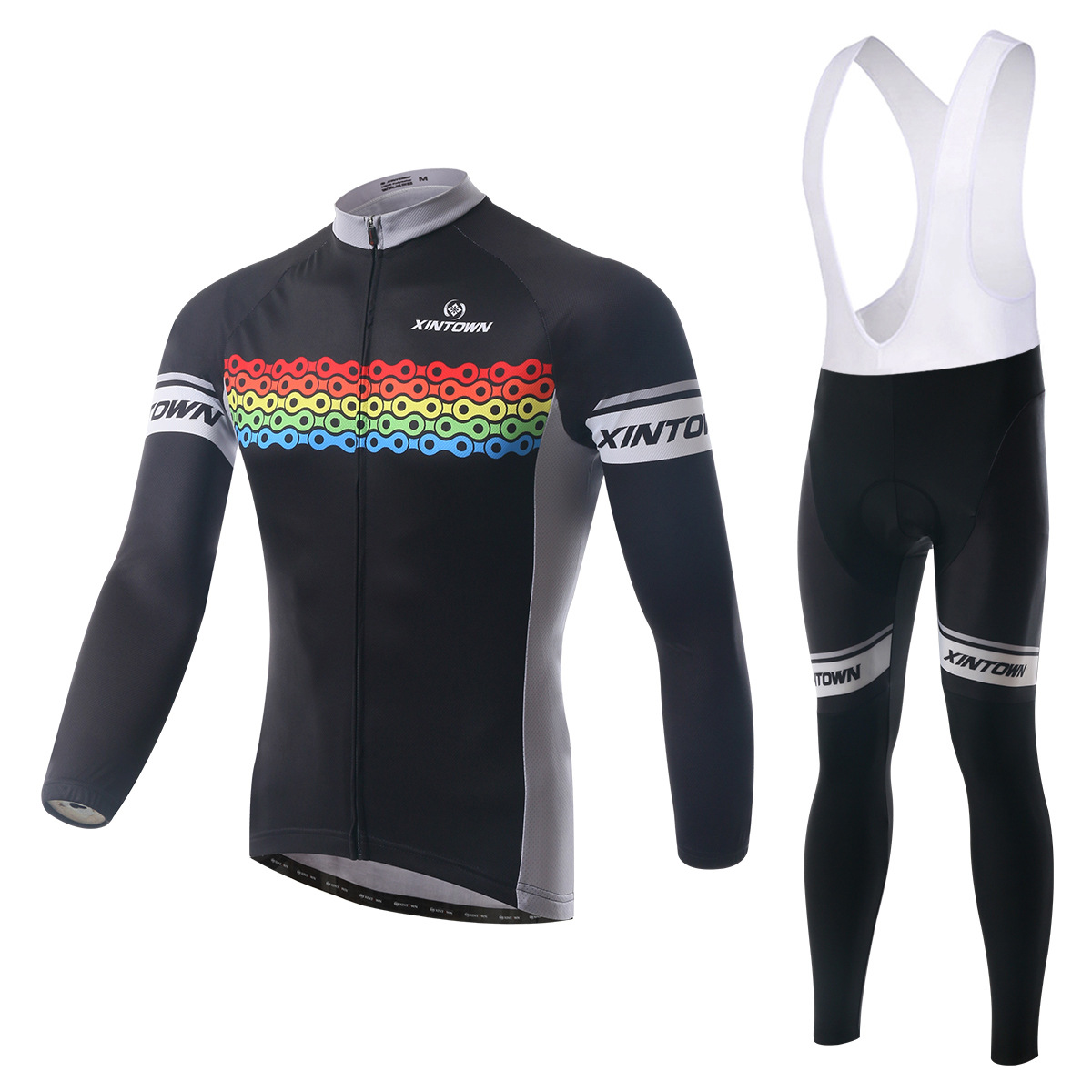 Cycling Set Long Sleeve Jersey and Bib Pants 3D Pad Pro Men Anti-sweat Bicycle Chain Pattern Ciclismo MTB Bike Suit Bicicleta teleyi men cycling jersey bike long sleeve outdoor bike jersey bicycle clothing wear breathable padded bib pants set s 4xl