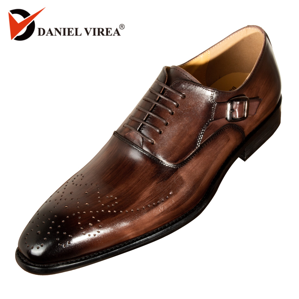 Men Dress Shoes Leather Buckle Strap Office Business Wedding Handmade Mixed  Color Brogue Formal Pointed Toe Oxfords Mens Shoe 66954b850ac7