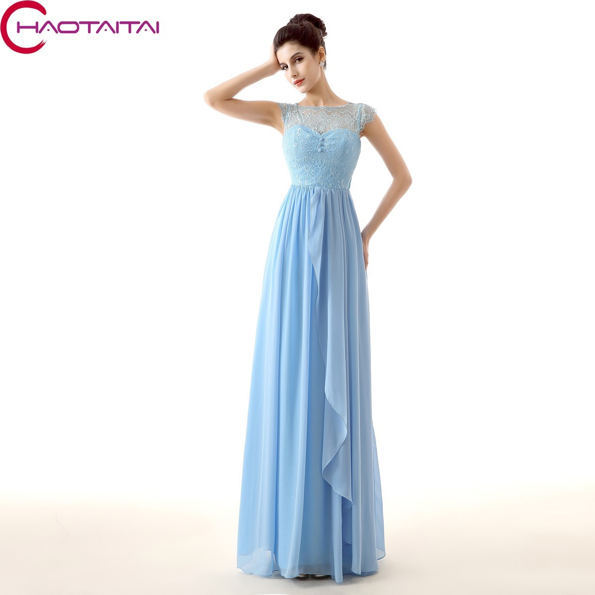 Simple Elegant Wedding Dresses With Sleeves: Natural Simple Elegant 2018 Blue Bridesmaid Dresses With
