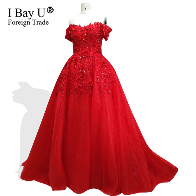 2018 Sequins Arabic Real Sample Red Ball Gown Puffy Appliques Lace Bead Off  The Shoulder Short Sleeves Formal Evening Prom Dress 769c1b78c375