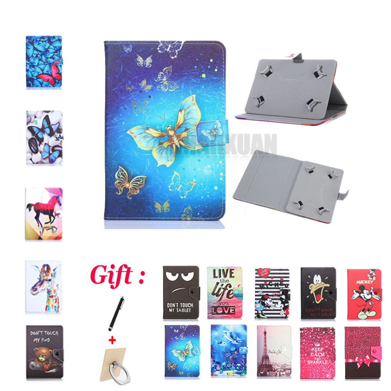(No camera hole) Cartoon Cover for BQ-7021G Hit/<font><b>7010G</b></font> Max/7064G Fusion/7004 Bali 7 Inch Tablet PU Leather Stand Case + 2 Gifts image
