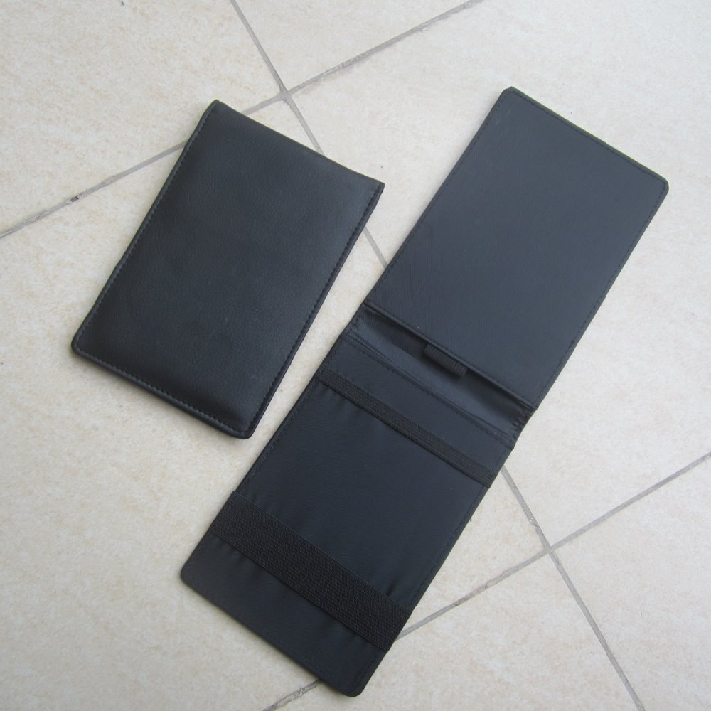 Black Leather Golf Score Card Holder