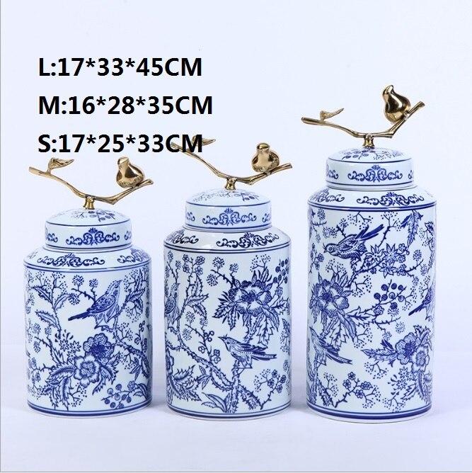 Купить с кэшбэком New green  flower bird round pot three pieces of exquisite handmade painted ceramic arts and crafts