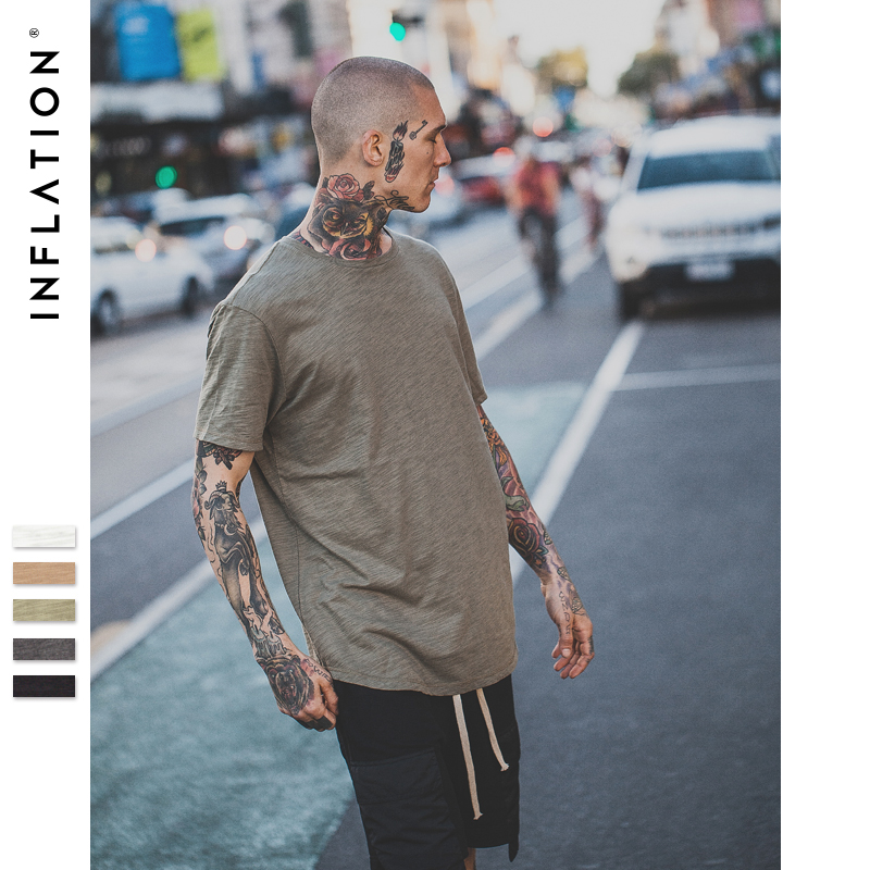 INFLATION 2017 Summer New Style Men's Solid Extended Elongated Plain T Shirt Bamboo Cotton