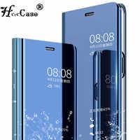 Virar Couro Capa Para Huawei telefon p20 p20pro p20lite Espelho Inteligente Caso do telefone Móvel suporte do telefone da moda stand saco acessório