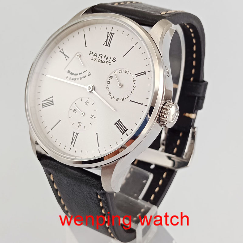 W2470 42mm Parnis White Dial with Roman numerals Solid Case Date Power Reserve Automatic Mens Watches