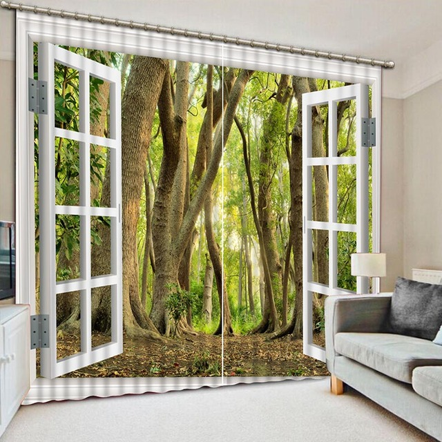 How To Make Living Room Curtains Modern Wallpaper Designs For Noenname Null High Quality 3d Printing Green Forest Eyes Comfortable Bedroom Cl 070