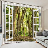 High Quality 3D Printing Curtains Green Forest Curtains Make Eyes Comfortable Bedroom Living Room Curtains CL