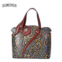SUWERER 2019 New Genuine Leather women bags Handmade embossing Retro luxury leather shoulder bag designer famous brands