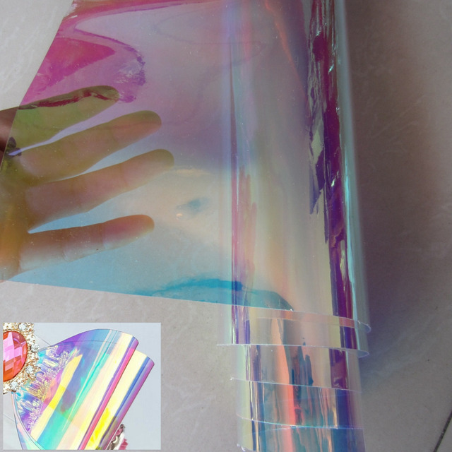 30 x 95cm transparent PVC Iridescent magic mirror ... Iridescent Holographic Fabric