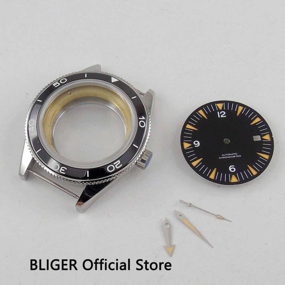 La más nueva moda 41mm BLIGER negro cerámica bisel reloj caso + manos luminosas + dial negro fit eta 2836 movimiento cristal de zafiro-in Esferas de reloj from Relojes de pulsera    1