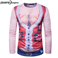 2017 New Men 3D Funny T Shirt Long Sleeve Male Fashion T Shirt O Neck High