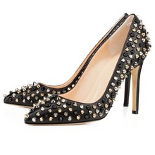 Faux Leather Women's Stiletto  Heel Pointed Toe Shoes with Rivet