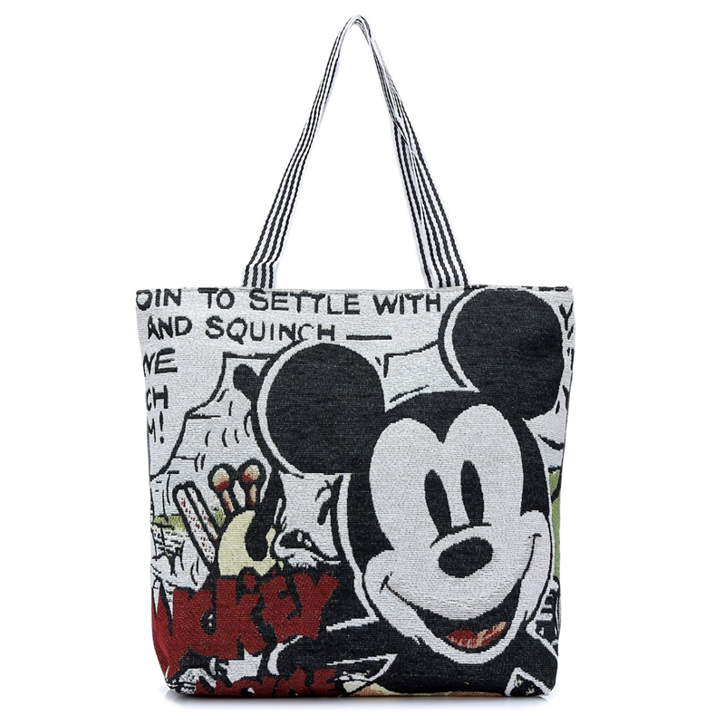 Cartoon Minnie Mickey Printed Casual Tote Women Canvas Handbag Single Shoulder Shopping Bags Fashion Female Canvas Beach Bag