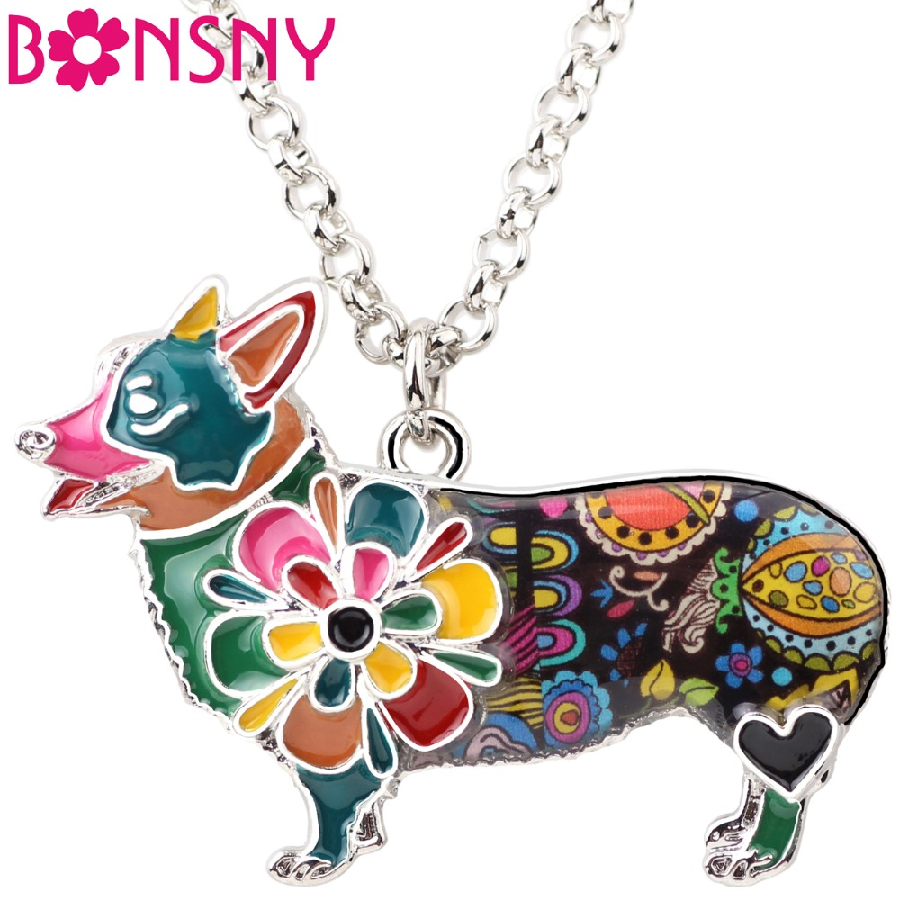 Bonsny Metal Enamel Statement Corgi Dog Choker Necklace Maxi Pendant Chain Collar 2017 New Jewelry For Women Accessories Bijoux