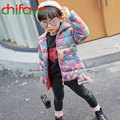 New Winter Thick Warm Children Girls Down Coat Zipper Camouflage Hooded Collar Kids Baby Outerwear Parka Suit for 4-7 Ages Girls