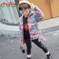 Nova Grosso Inverno Quente Crianças Meninas Para Baixo Casaco Com Zíper Camuflagem Gola com capuz Crianças Outerwear Parka Terno Do Bebê para 4-7 Idades meninas