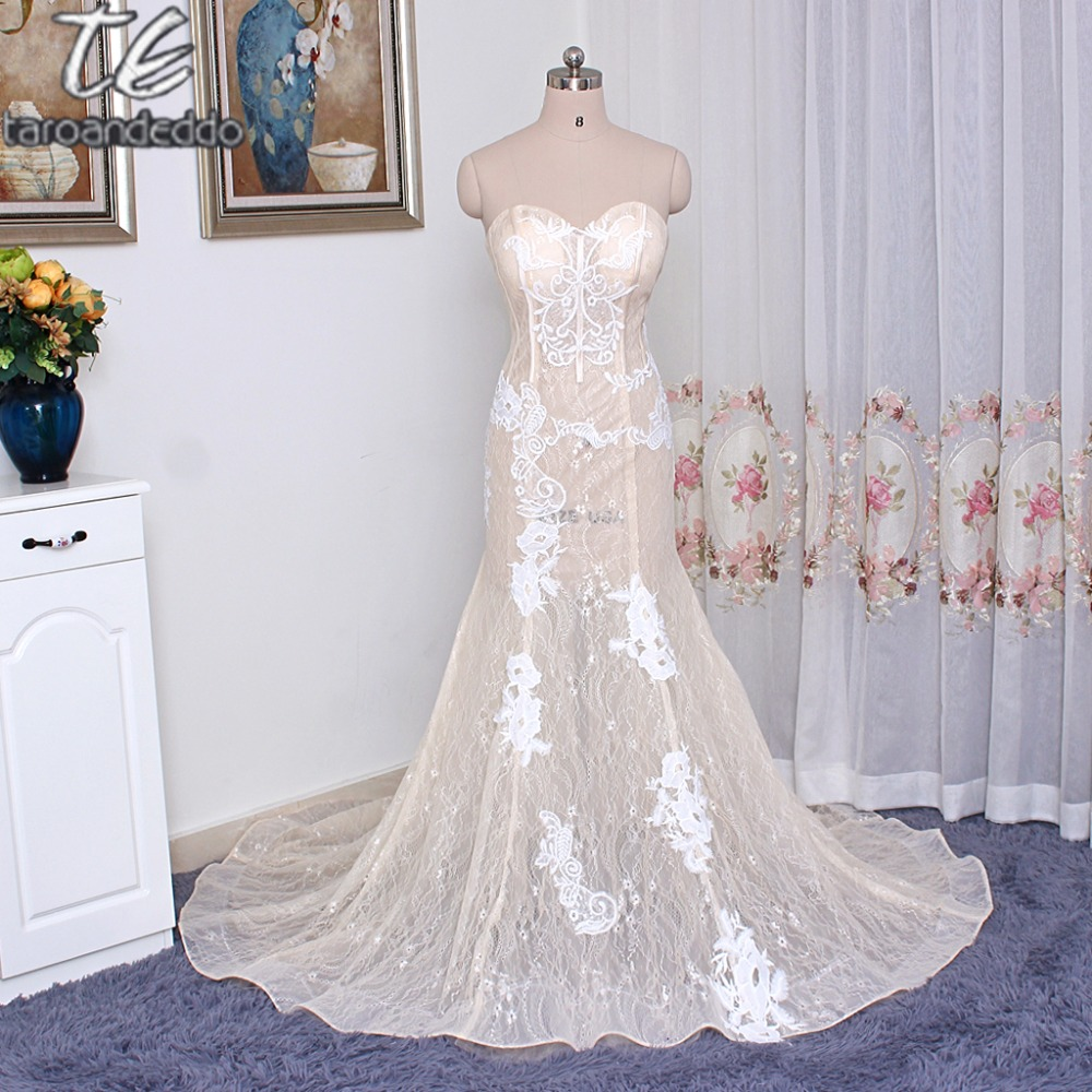 Strapless Champagne Lace Sheer See Through Mermaid Prom Dress With