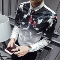 new fall Capricorn hair stylist Department of original printing men's self cultivation Korean shirts, 1701 white P55