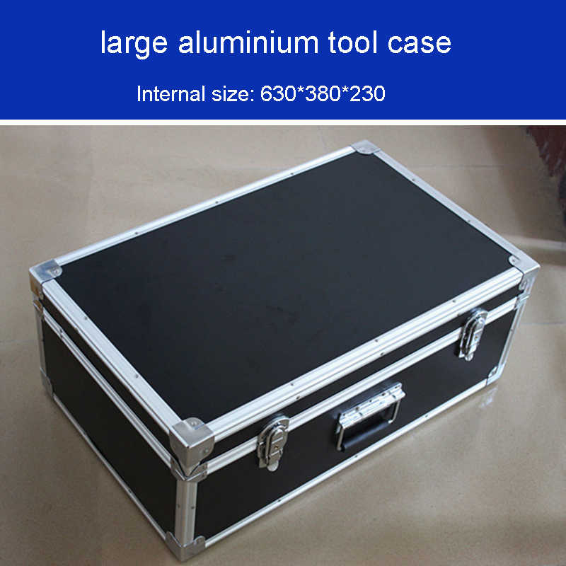 Grote aluminium tool case Shockproof vocht toolbox Meer duurzaam lager instrument box apparatuur case bin 625*375*230 MM