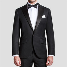 Hot Sale One Button Mens Suits Groom Tuxedos Black Notch Lapel Best man Groomsman Men Wedding Suits Bridegroom (Jacket+Pants)