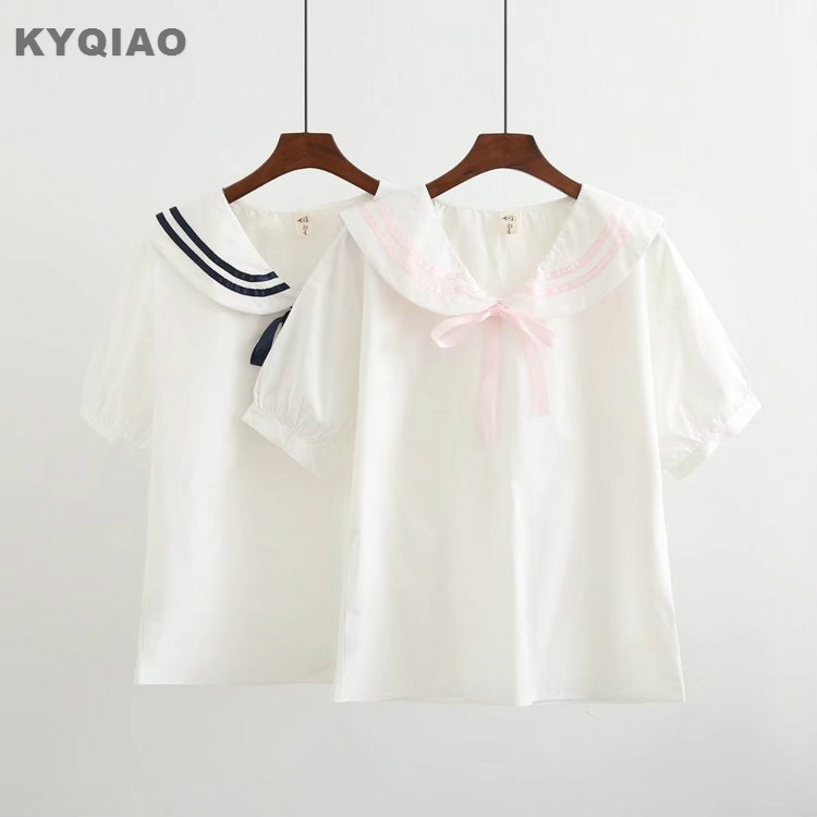 KYQIAO Japanese school uniform 2019 women autumn summer Japanese style fresh cute kawaii pink black navy sailor   blouse     shirt