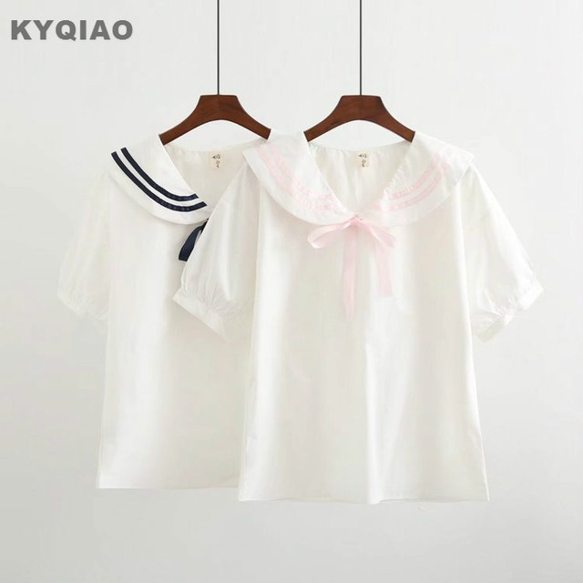 23acb3f44 KYQIAO japonés uniforme de la escuela 2019 mujeres otoño verano japonés  estilo fresco lindo kawaii Rosa